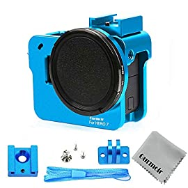 """Gurmoir case aluminum alloy back door housing frame for gopro hero 8 black action camera, wire connectable protective… 1 this aluminum housing designed for gopro hero 5/gopro hero (2018) action camera, blue make your gopro more unique your gopro camera will be more safety during high-velocity sport or daily using. No more worries about the camera will falling out. You can just enjoy your shooting time with 1/4 inch screw hole. The case can compatible with any 1/4"""" tripod. Or you can diy your kit. Sides open allow quick connect of cables. With the cold shoe, you can mount a flash, video light, microphone on the top of this case"""