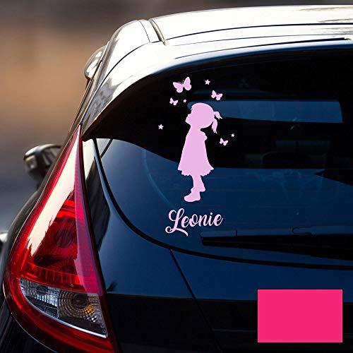 Autotattoo 1 Mädchen Heckscheiben Aufkleber Namensaufkleber mit Kinder Luftballon Schmetterlinge und Wunschnamen M2387 - ausgewählte Farbe: *pink* ausgewählte Größe: *S - 21cm hoch x 9,5cm breit*