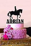 Decoración personalizada para tarta de cumpleaños con diseño de caballo de doma y texto en inglés «Noticias de cumpleaños y edad para tarta de cumpleaños