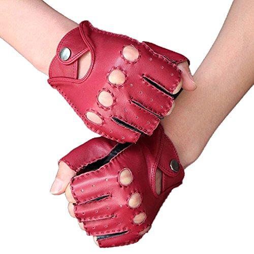 WJH Fingerlose Lederhandschuhe für Damen und Herren, atmungsaktive, rutschfeste Handschuhe mit Fitnessfutter aus Schaffell für Motorradfahrer,S