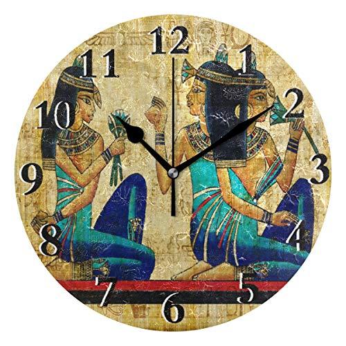 LZXO Wanduhr Retro antike ägyptische Frau Nicht tickend leise 24 cm runde Uhr leise batteriebetrieben Deko für Küche Wohnzimmer Schlafzimmer Büro