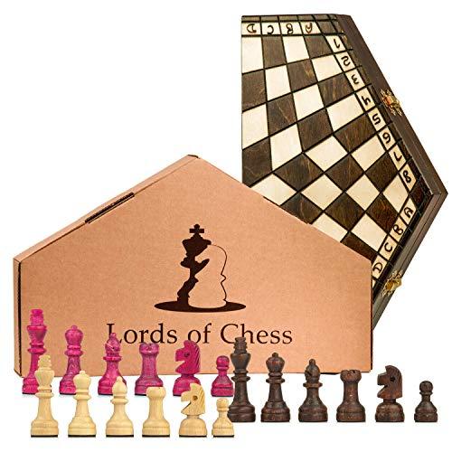 Amazinggirl Schachspiel 3 Personen Schach Holz Schachbrett - Chess Board 3er Set klappbar hochwertig mit Schachfiguren groß für Kinder und Erwachsene 40X35 cm