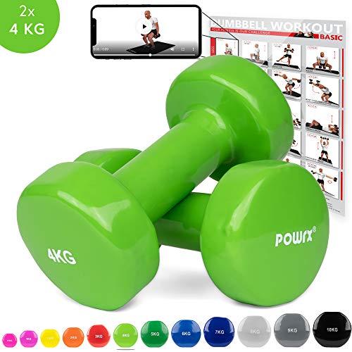 POWRX Vinyl Hanteln Paar Ideal für Gymnastik Aerobic Pilates 0,5 kg – 10 kg I Kurzhantel Set in versch. Farben (2 x 4 kg (Grün))