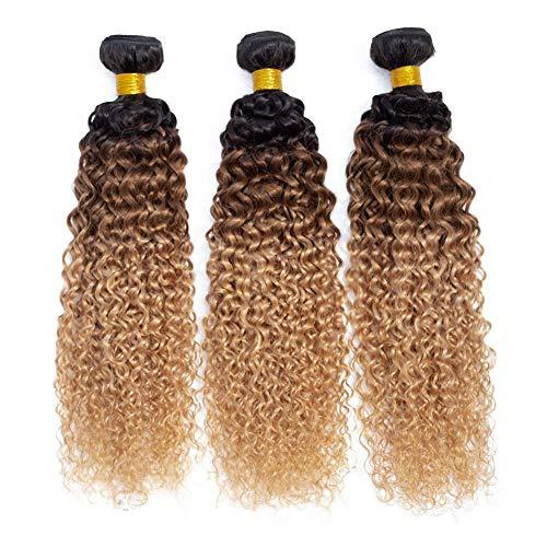 10A Ombre Brazilian Virgin Curly Hair 3 Bundles (T1B/30/27,20' 22' 24') Ombre Virgin Remy Kinky Curly Human Hair Weave Bundles 100% Unprocessed Virgin Remy Hair Bundles 3 Tone Ombre Bundles