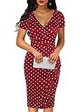 oxiuly Women's Chic Vintage Polka Dot Criss-Cross V-Neck Work Pencil Midi Dress OX300 (L, Wine Dot)