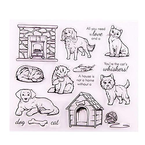Pet Furry Friend Labrador Hund Katze Feuerstelle Hund Haus Clear Stempel für Kartenherstellung Dekoration und DIY Scrapbooking