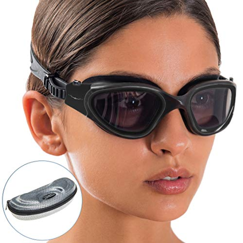 AqtivAqua Swimming Goggles Polarized Swim Goggles for Adults Men Women Kids Youth Girls Boys Children DX (Black, Polarized)