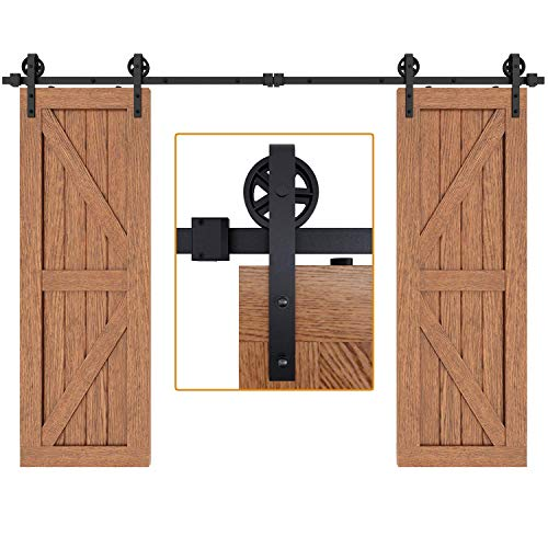 "EaseLife 10 FT Double Door Heavy Duty Big Wheel Sliding Barn Door Hardware Track Kit,Ultra Hard Sturdy,Slide Smoothly Quietly,Easy Install,Fit Double 30"" Wide Door (10FT Track Double Door Kit)"