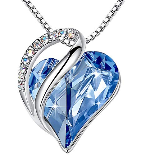 Leafael Infinity Love Heart Pendant Necklace with Light Sapphire Blue Birthstone Crystal for March and December, Jewelry Gifts for Women, Silver-tone, 18'+2'