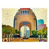 Monumento a México Rompecabezas para Adultos, 500 Piezas de Madera, Regalo de Viaje, Recuerdo, 20.4 x 15 Pulgadas