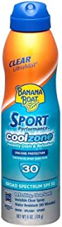 2 Pack of Banana Boat Sport Performance UltraMist CoolZone Continuous Spray Sunscreen, SPF 30 Refreshing, Clean Scent 6.0 oz.