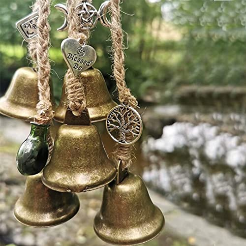 Witches Bells Door Protection Charm Witchcraft Decor Wicca Decor Pagan Decor Wiccan Altar Supplies Magick Witchcraft Supplies Celtic Door Bells for Porch Garden Window Decoration