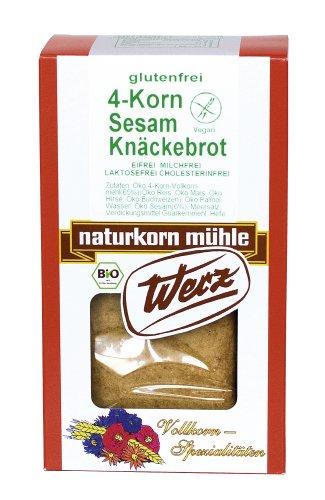 Werz 4-Korn-Vollkorn-Sesam-Knäckebrot glutenfrei, 2er Pack (2 x 150 g Packung) - Bio