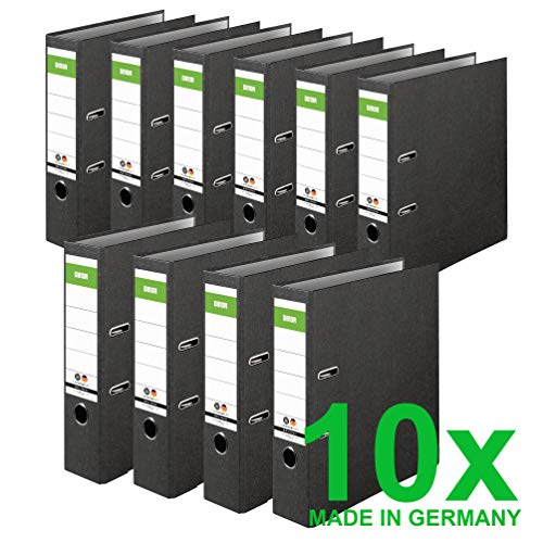 Original DINOR Ordner-Wolkenmarmor-Recycling - Made in Germany. 10er Pack 8 cm breit DIN A4 schwarz Aktenordner Briefordner Büroordner Pappordner Schlitzordner Grüner Balken Blauer Engel