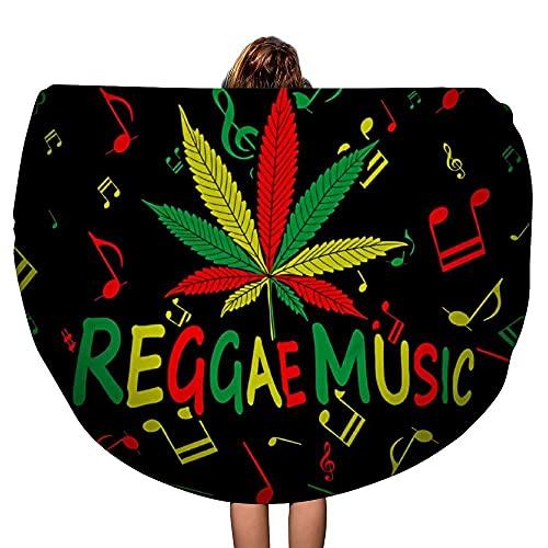 Reggae Rasta Musik Cannabis Marijusna Blatt Dickes rundes Strandtuch Decke werfen Mandala Mikrofaser böhmischen Kreis Stil übergroße extra große Yogamatte Tischdecke