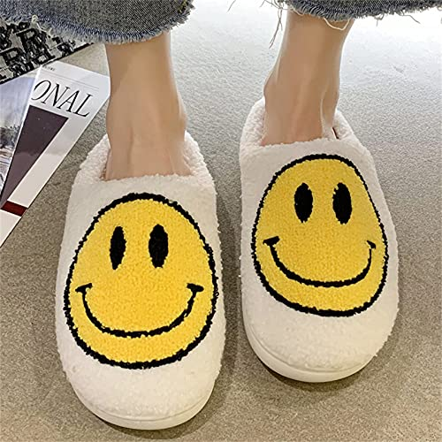 HSMG Smiley Face Soft Plush Comfy Warm Slippers For Women and Men Scuff Slip on Anti-Skid Sole Slippers (37/38,White)