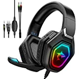 Gaming-Headset mit Mikrofon – Vimbo PS5 Headset mit Geräuschunterdrückung, buntes RGB-LED-Licht, cooles Stereo-Over-Ear-Headset für PS5, PS4, Nintendo Switch, Xbox One, Laptops, PC, Handys