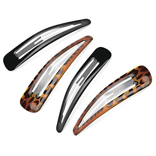 4 X Large Noir et Écaille de tortue Cheveux clips/Barrettes Clips/argent – 10 cm (9,9 cm)
