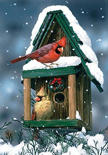 Toland Home Garden Cardinals In Snow 12.5 x 18 Inch Decorative Winter Bird Birdhouse Snowflake Garden Flag