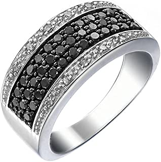 3/4 CT Black and White Diamond Ring in Sterling Silver