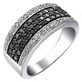 3/4 cttw Black and White Diamond Ring Wedding Band in .925 Sterling Silver Round Size 7