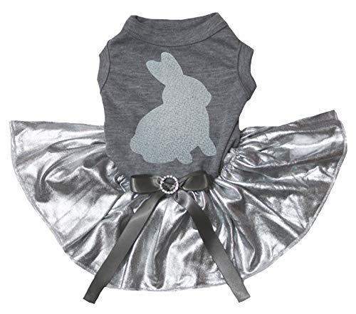 Petitebelle Konijn Print Grijs Katoen Shirt Bling Zilver Tutu Hond Jurk, XX-Large, Grijs