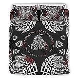 Wandlovers Odin Valknut - Juego de ropa de cama (3 piezas, para todo el año, funda de edredón y funda de almohada, colección de ropa de cama, 229 x 229 cm), color blanco