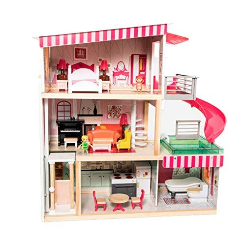 LIYANG Puppenhausspielzeug Hausmodell DIY Puppen Haus Haus Holz Puppen Haus Modell 3D Puzzle Villa Spielzeug Für Kinder (Farbe : Pink, Size : One Size)