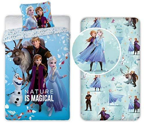 Frozen Sisters Family - Juego de cama individual con funda nórdica + funda de almohada + sábana bajera de algodón