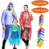 EVANCE Impermeables Desechables, Lluvia Poncho con Capucha Transparente,Poncho de Lluvia desechable,Desechable e Impermeable Emergencia Raincoat (12 Piezas multicolor)