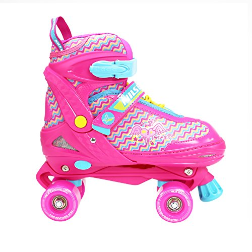NILS Mädchen Damen Rollschuhe Fly pink/türkis ABEC7 - Gr. 34-37, 38-41 verstellbar (38-41 verstellbar)