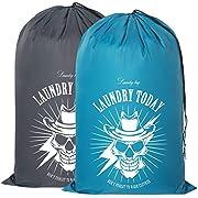 "ZERO JET LAG 2 Pack Extra Large Travel Laundry Bag Set Nylon Rip-Stop Dirty Storage Bag Machine Washable Drawstring Closure 24"" x 36"" (Blue and Gray)"