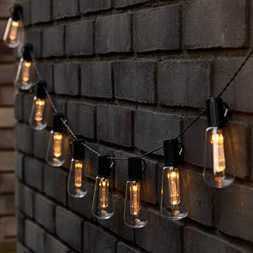 GloBrite 10 LED Solar Powered Edison Retro Bulb String Garden Hanging Lights (Warm White)