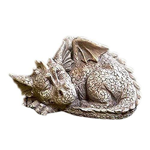 Massive Steinfigur großer schlafender Stein Drachen Dragon Dinosaurier aus Steinguss frostfest Für Garten und Haus Deko Drachen Figur Steinguss Fantasiefiguren Drachen Steinfiguren