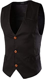 Vests Men's Business Suit Slim Casual Waistcoat Business Modern Casual Fit Vest V Neck Vest Blazer Waistcoat Vests 3 Button