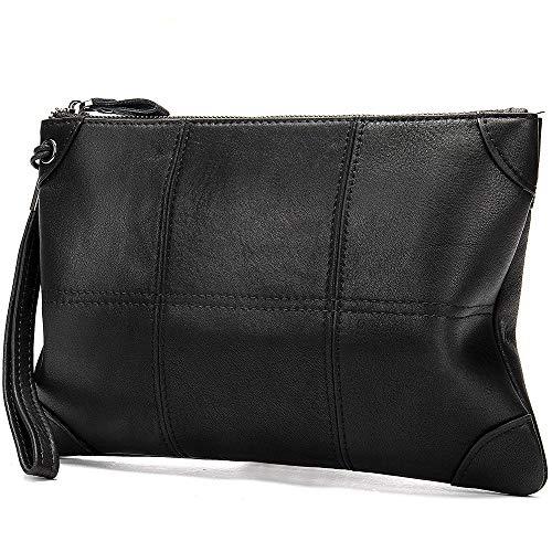 ZYL Leder-Männer Wallet Clutch Bag koreanische Version des Geschäfts-Umschlag Baotou Schichtrind große Kapazität Clutch-Bag (Color : Black, Size : S)