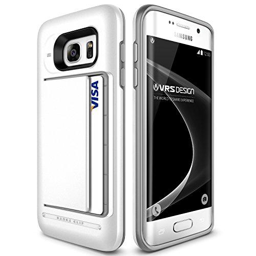 VRS Design Urcover Damda Clip Hülle kompatibel mit Samsung Galaxy S7 Edge | KARTENFACH & KAMERASCHUTZ | Handy-Hülle Schutz-Hülle Pearl White Cover Back-Case Smartphone Zubehör Handy-Tasche