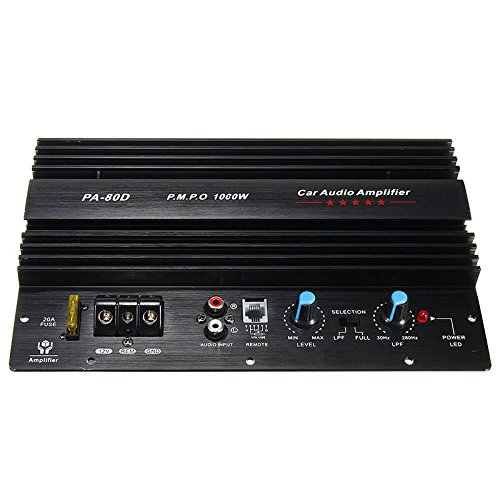 SNOWINSPRING 12V 1000W Mono Auto Audio Endstufe Leistungsstarke Bass Subwoofer Amp PA80D