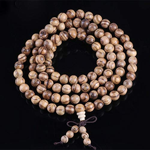 Regeek Strand Bracelets - Sennier Natural Vietnamese agarwood Incense 108 Beads 6mm 8mm Buddha Prayer malas Beads Bracelets Rosary Wooden Bangle Jewelry - (Metal Color: 6mm)