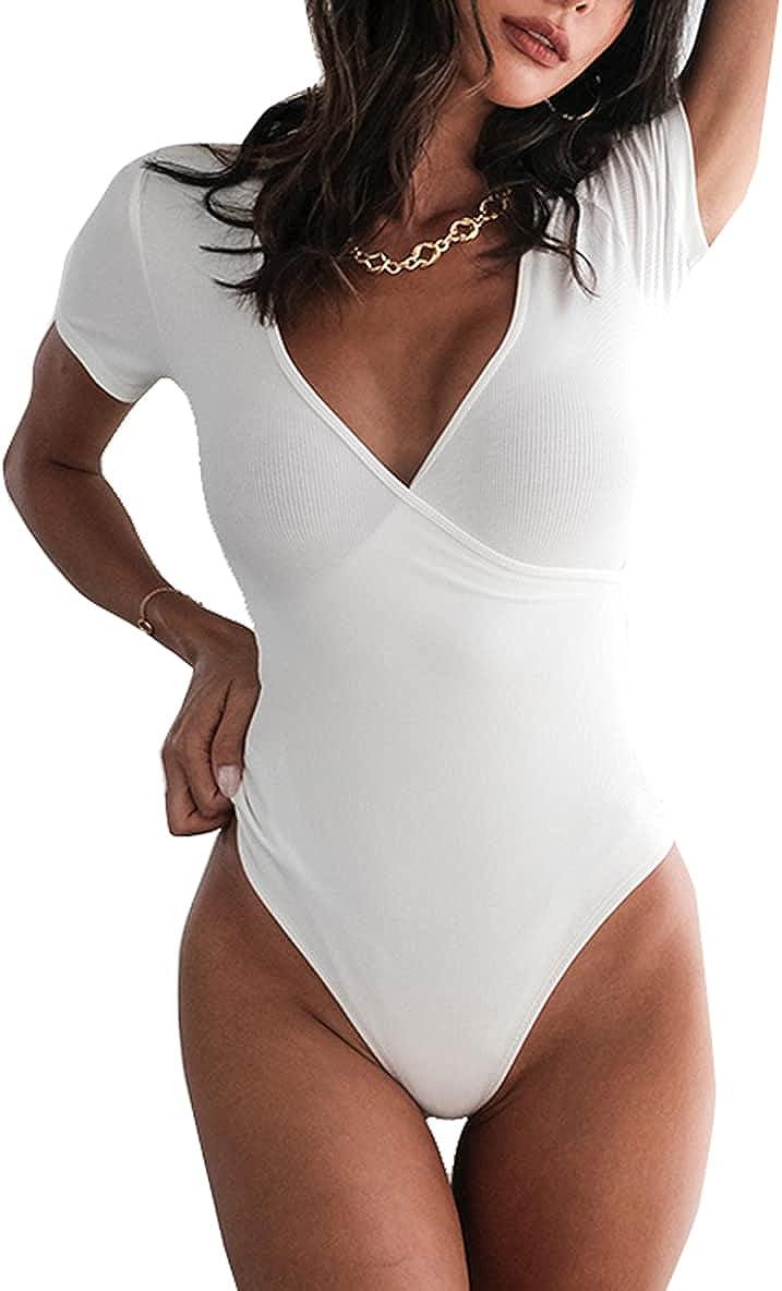 PALINDA Women's Surplice Wrap Ruched Ribbed Plunge Neck Deep V Short Sleeve Bodysuit Tops