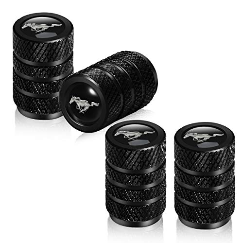 Suitable for Mustang Valve stem Cover to Prevent Corrosion. Tire air Cover Valve stem and Valve stem Cover. Automobile. Suitable for Ford Mustang GT 5.0 Decoration Accessories (4 Pieces of Black)