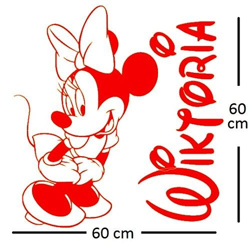 Autocollant de mur de Minnie mouse sticker. Le nom et Mickey Mouse de l'autocollant personnalisé de mur autocollant. Sticker mural avec le nom d'un enfant et Mickey Mouse.