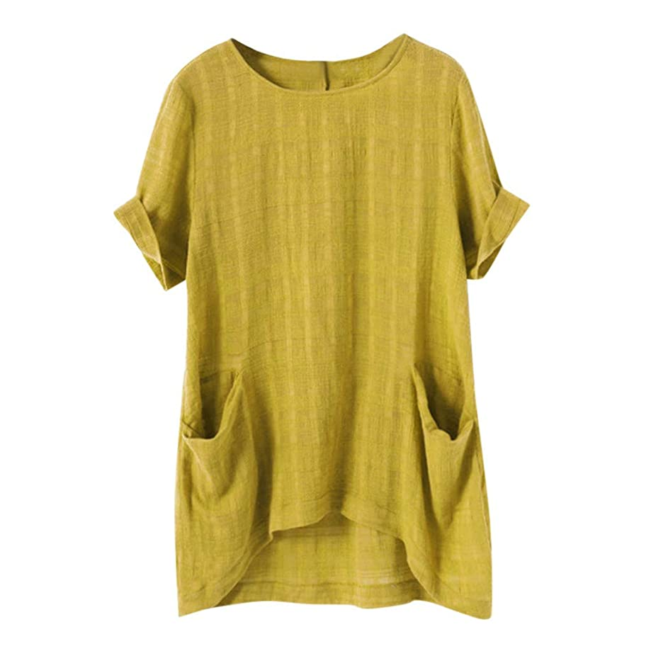 Ballad Women's Linen Loose Blouse Vintage Short Sleeve Solid Color Shirts with Pocket Summer Casual Tops