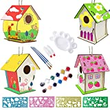 Casa de Pájaros,Casa de Pájaros Madera Manualidades Kit,Para Ninos Casa de Pájaros Para Pintar,Casa Pájaros Pintar Bricolaje,Casa de Pájaros Exterior