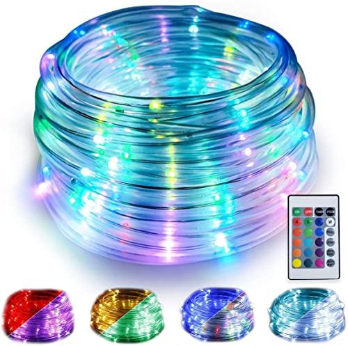 WOWDSGN Tubo LED RGB Multicolore Esterno da 10M, Tubo Luminoso USB con Telecomando a 100 LED, 16 Colori con 4 Modalità di Illuminazione, Impermeabile IP68 e 50pz Clip di Fissaggio
