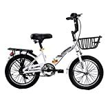 Axdwfd Infantiles Bicicletas Rueda Simple Plegable Bicicletas, Cuadro de Acero Alto Carbono Bicicleta Infantil, neumático Antideslizante Bicicleta para niña 16 18 20 Pulgadas