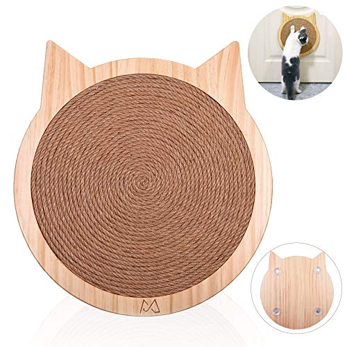 Cat Scratching Pads with 4 Suction Cups, Wooden Cat Ears Sisal Scratcher Board, Space Saving, Cat Toy Grinding Device, Wear and Scratch Resistance, Protect Furniture, Easy to Glue on Door, Window