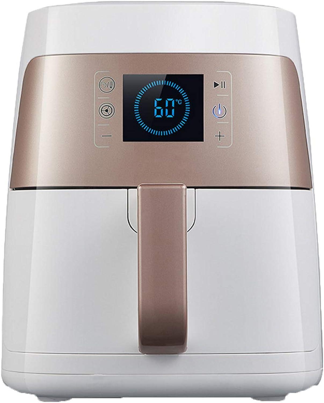 Freidora neumática 2L 1400W con pantalla digital, temporizador y control de temperatura completamente ajustable para cocinar sin grasa y sin grasa en forma saludable, blancoo marrón