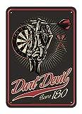 Lobo Negro Deko Blechschild für Dartspieler: Dart Devil Score 180 Größe ca. 20x30cm