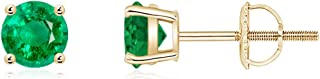 Round Emerald Stud Earrings (4mm Emerald)